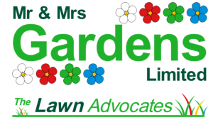 Mr & Mrs Gardens Limited with The Lawn Advocates logo