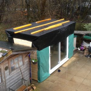 shed roof with pond liner